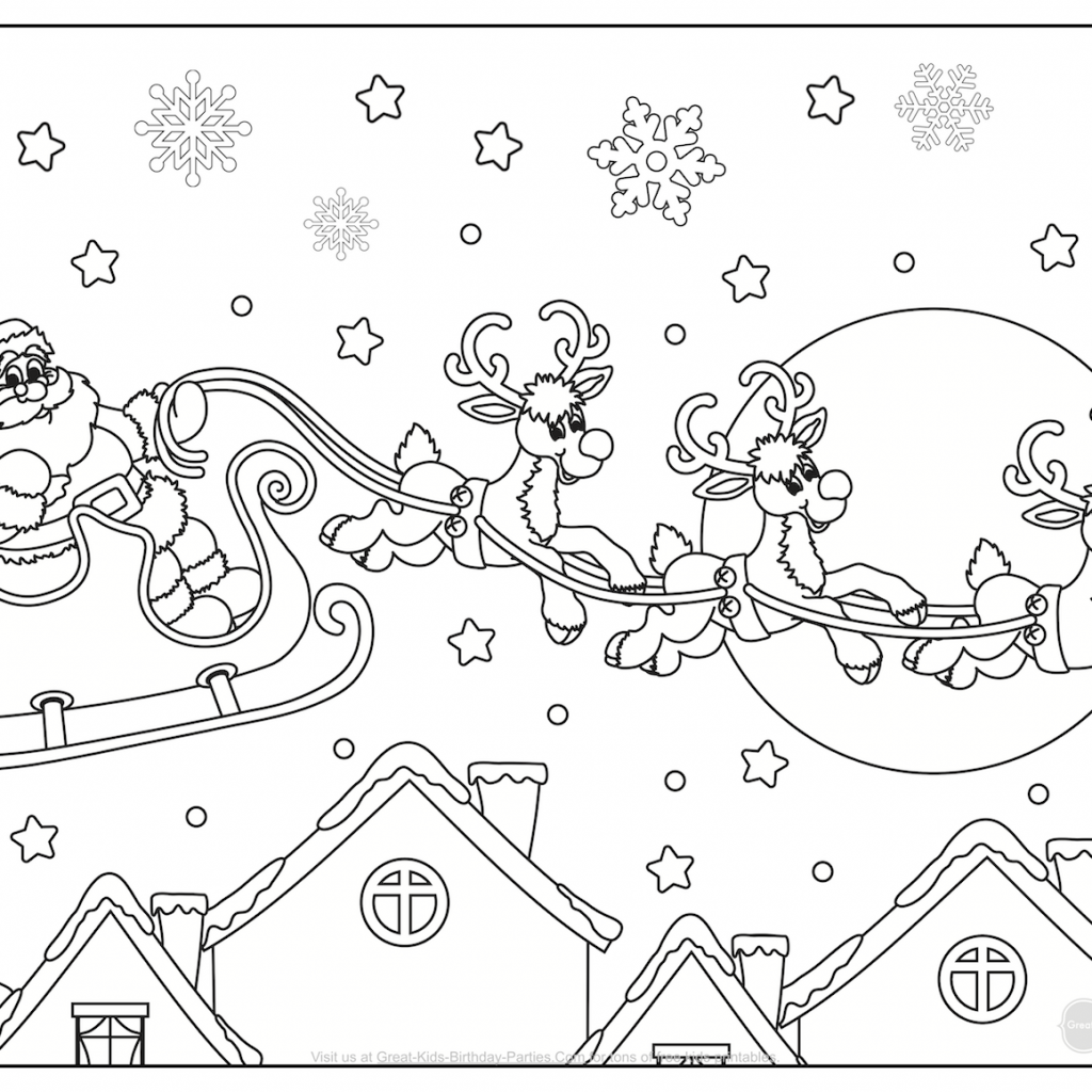 Santa Buddies Coloring Pages With Christmas