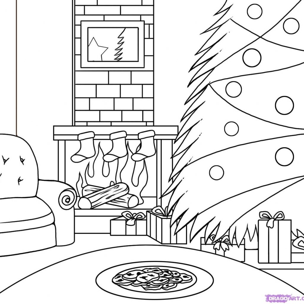 santa-buddies-coloring-pages-with-drawn-christmas-scene-pencil-and-in-color