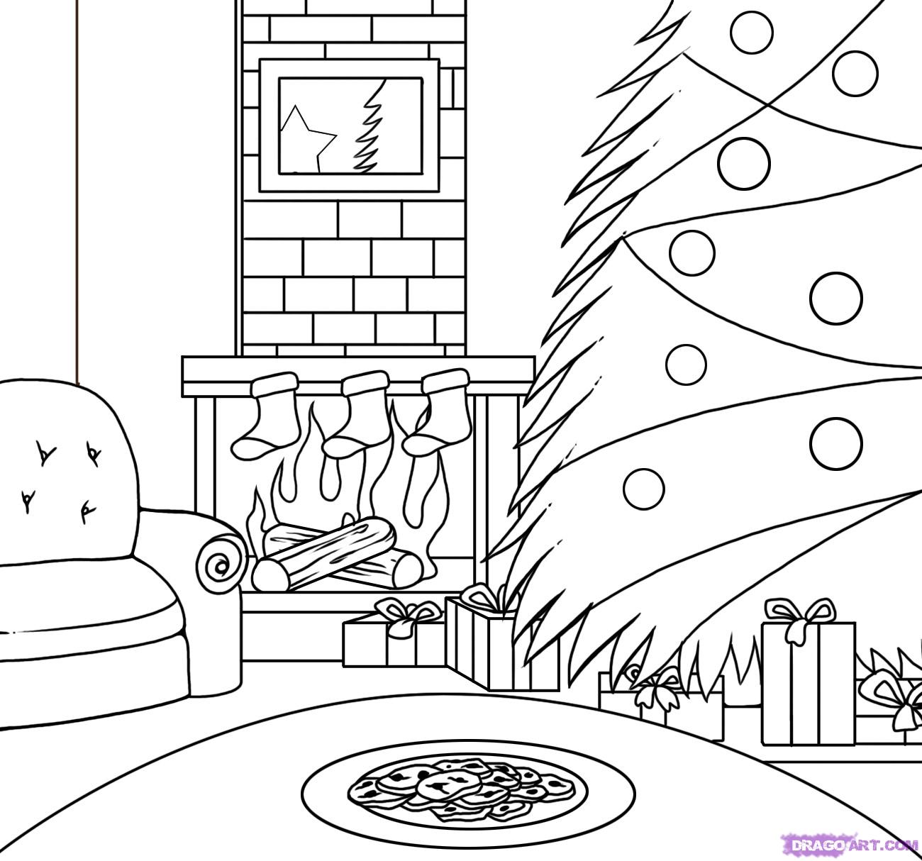 Santa Buddies Coloring Pages With Drawn Christmas Scene Pencil And In Color