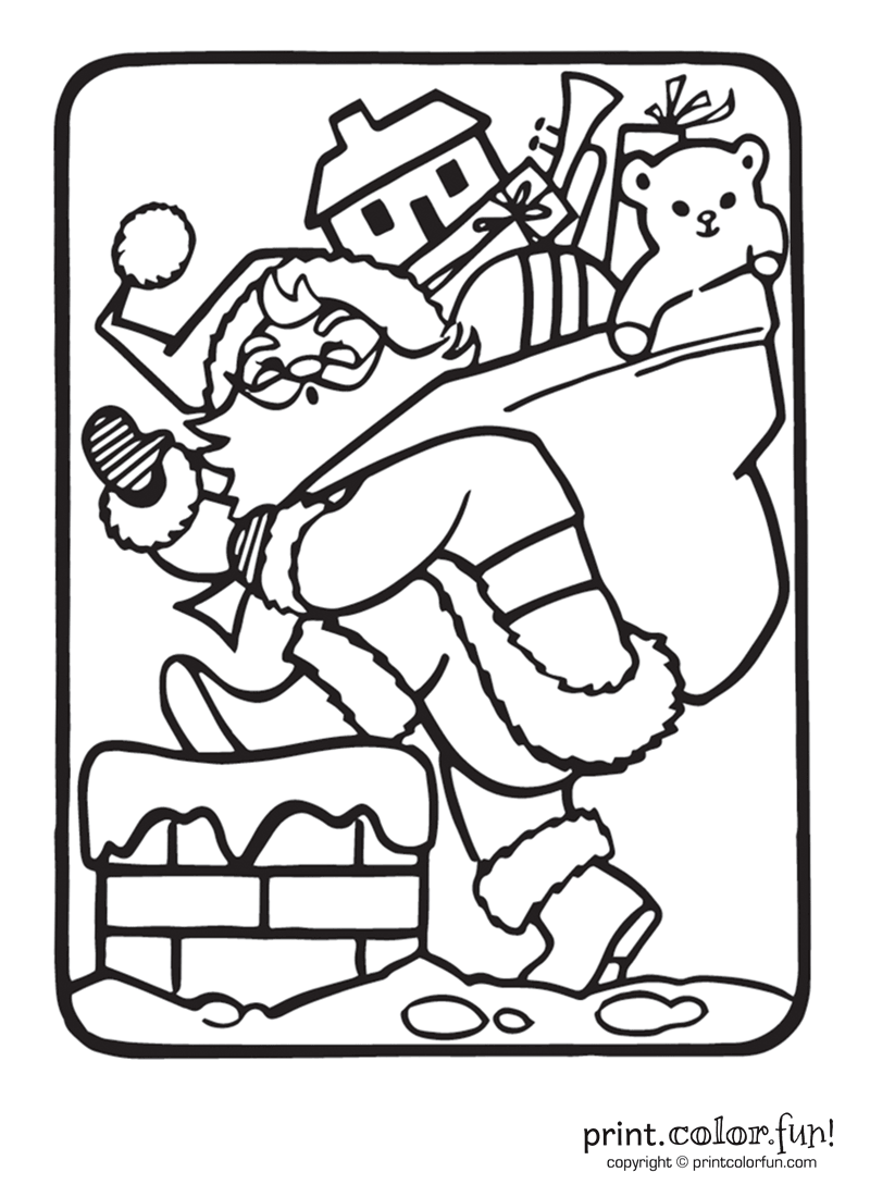 Santa Chimney Coloring Page With Claus Going Down The Print Color Fun