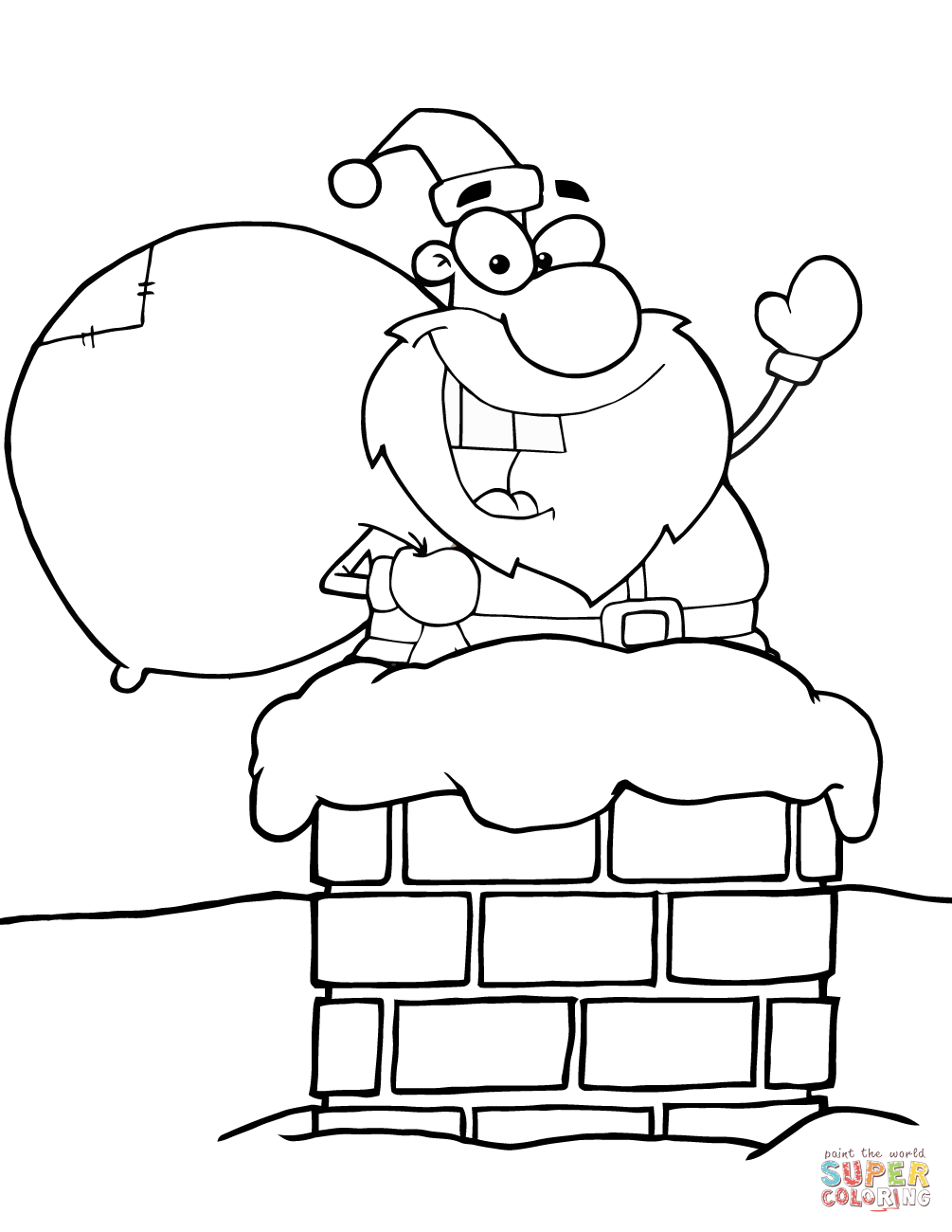 Santa Chimney Coloring Page With Claus In Free Printable Pages