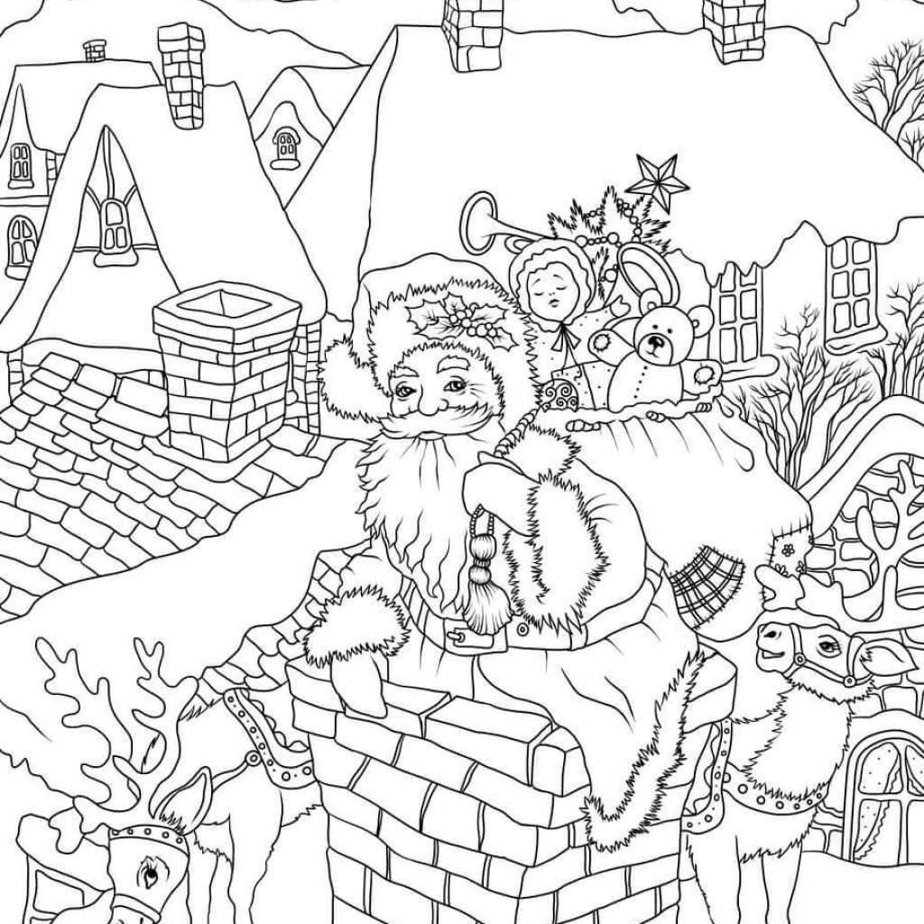 Santa Chimney Coloring Page With Claus Presents Is Entering The House Via