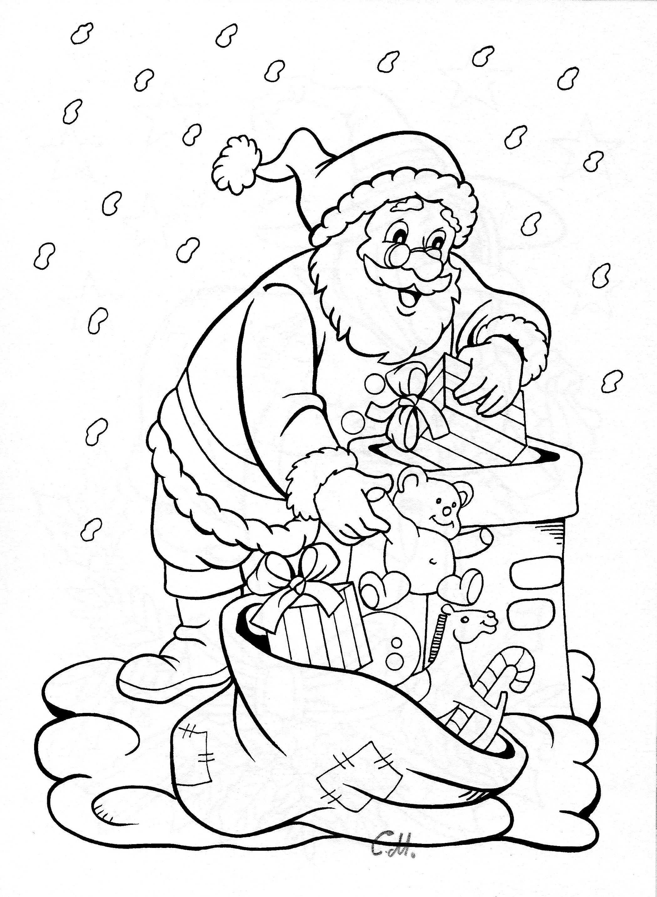 Santa Chimney Coloring Page With Climbing Down And Reindeer Pinterest