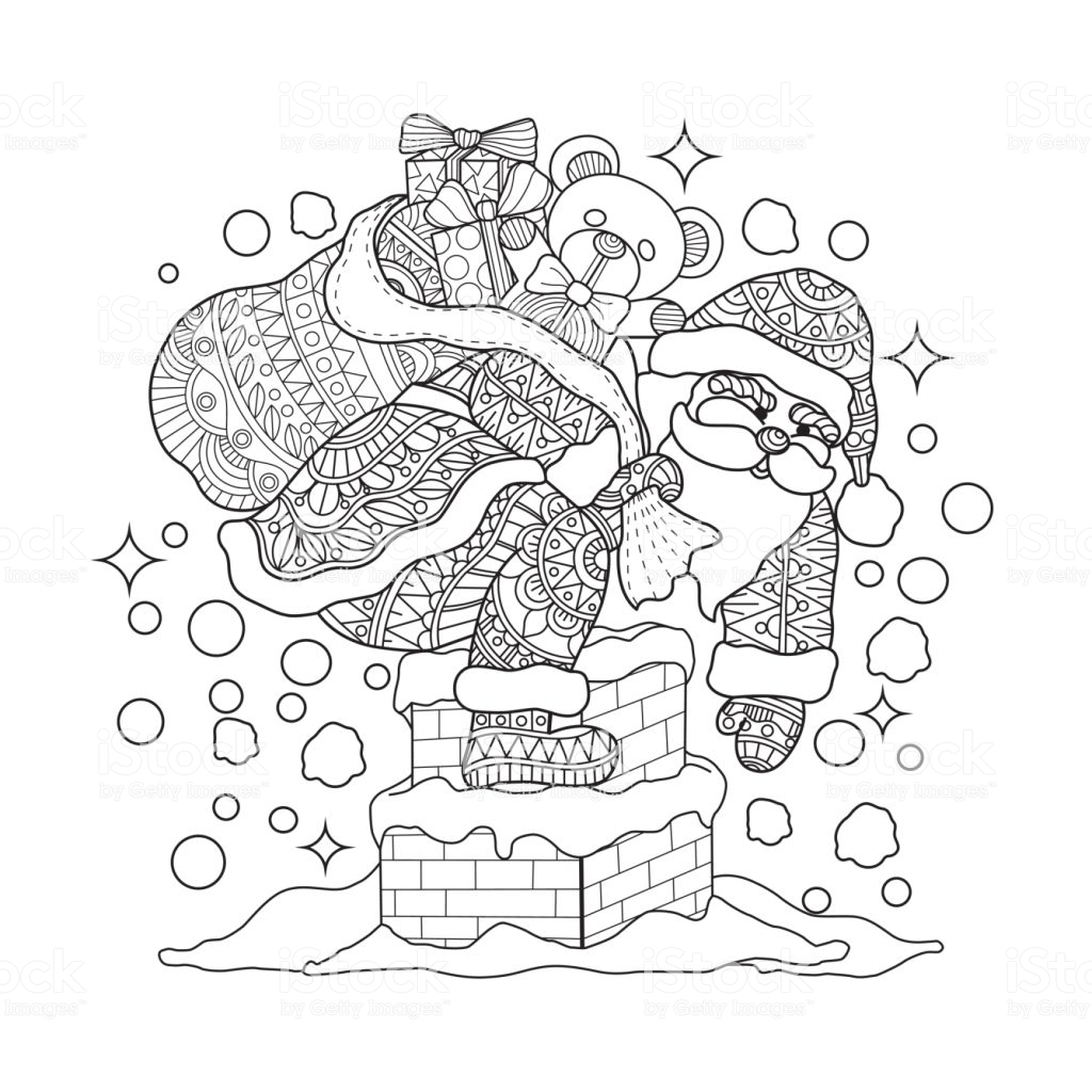 Santa Chimney Coloring Page With Hand Drawn Claus On For Adult Stock