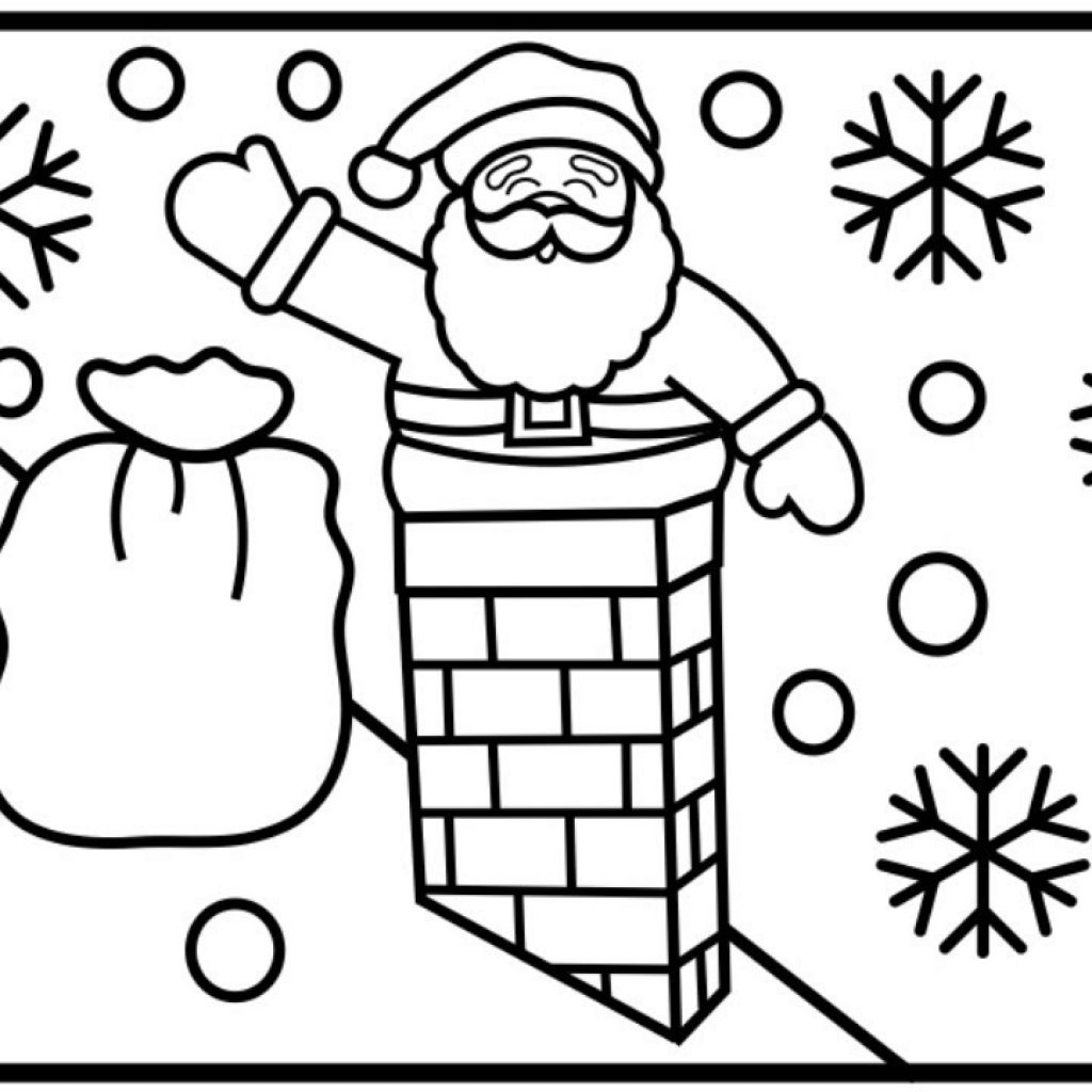Santa Chimney Coloring Page With How To Draw Going Down The Pages For