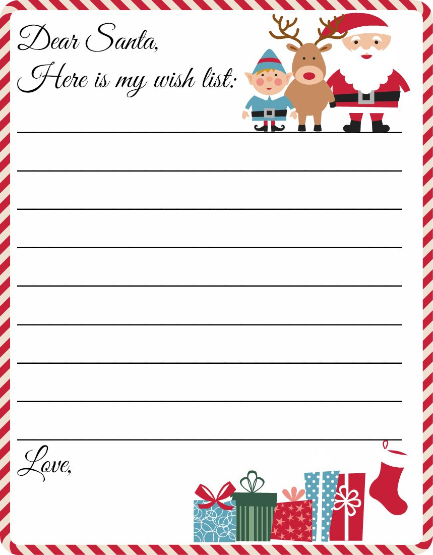 Santa Christmas List Coloring Page With Free Printable Letter To Template Cute Wish