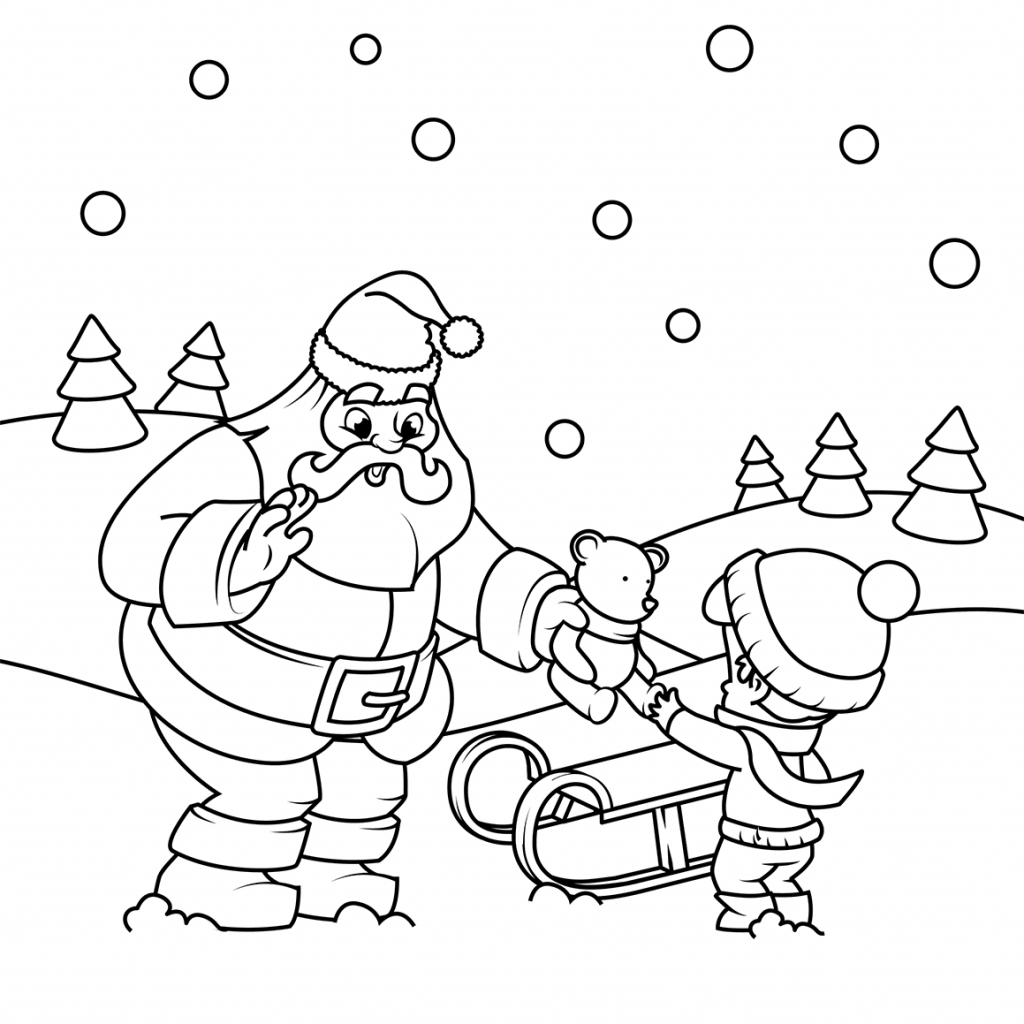 Santa Christmas List Coloring Page With Gives A Gift To Boy Free Printable