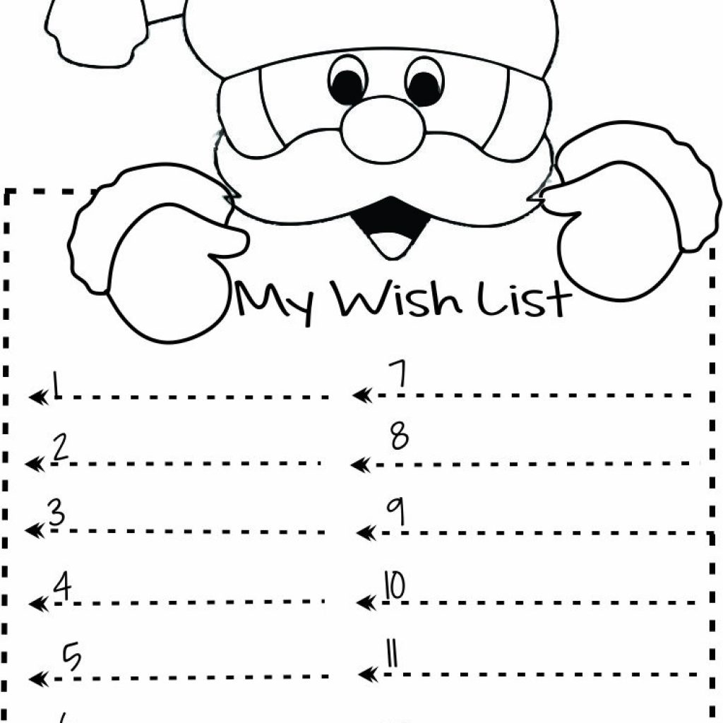 Santa Christmas List Coloring Page With Print Out Wish To Write Template Kids