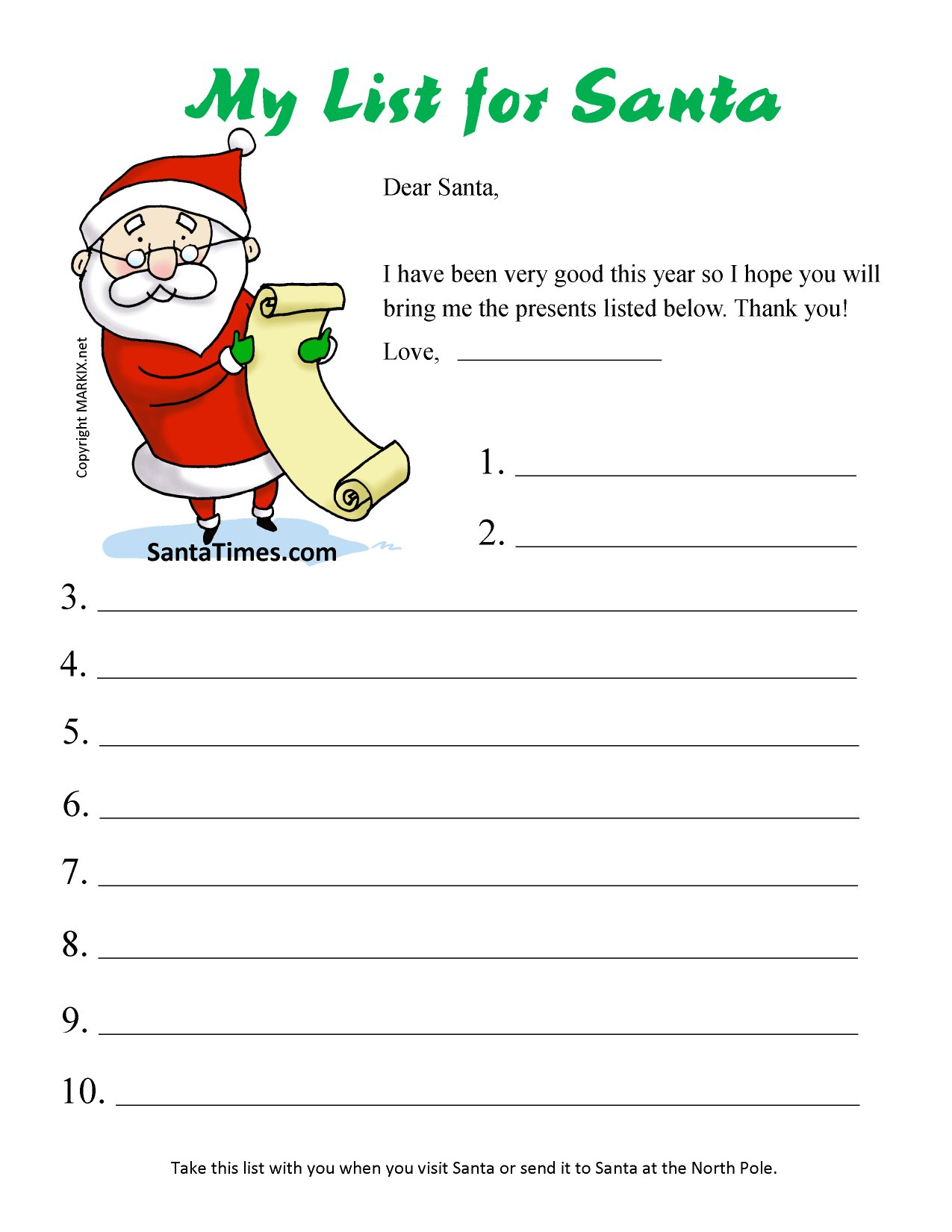 Santa Christmas List Coloring Page With Print Your Wish For