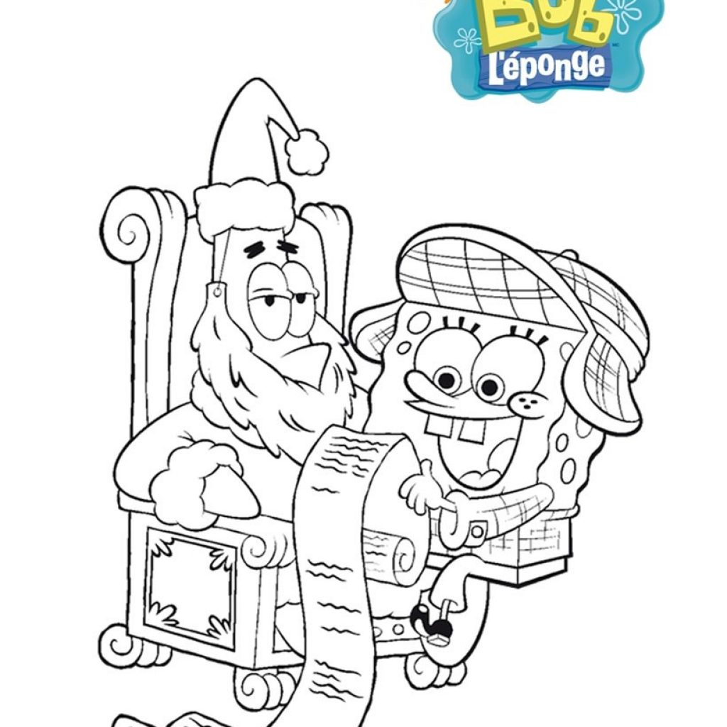 Santa Christmas List Coloring Page With Spongebob And His Wish Pages Hellokids Com