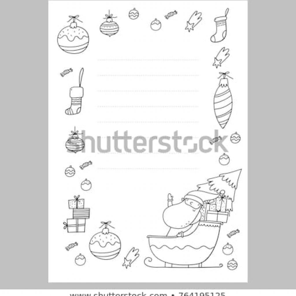 Santa Christmas List Coloring Page With Wish Stock Vector Royalty