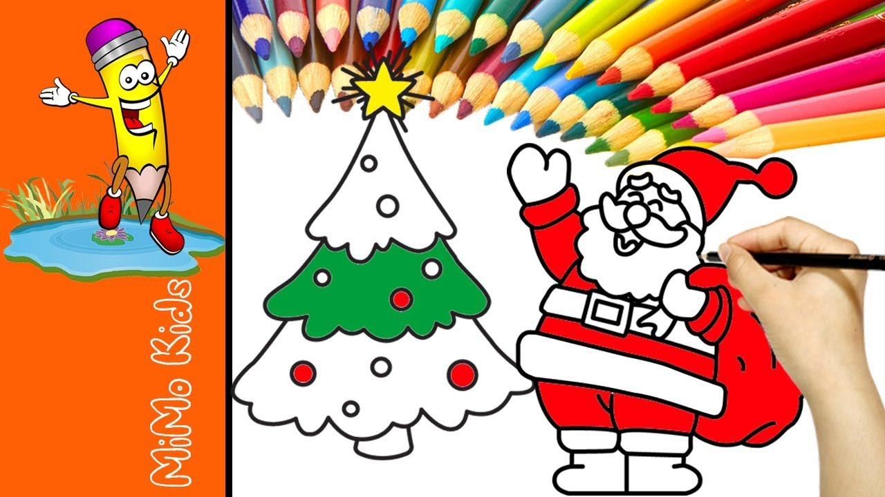 Santa Christmas Tree Coloring Page With And Pages For Toddlers