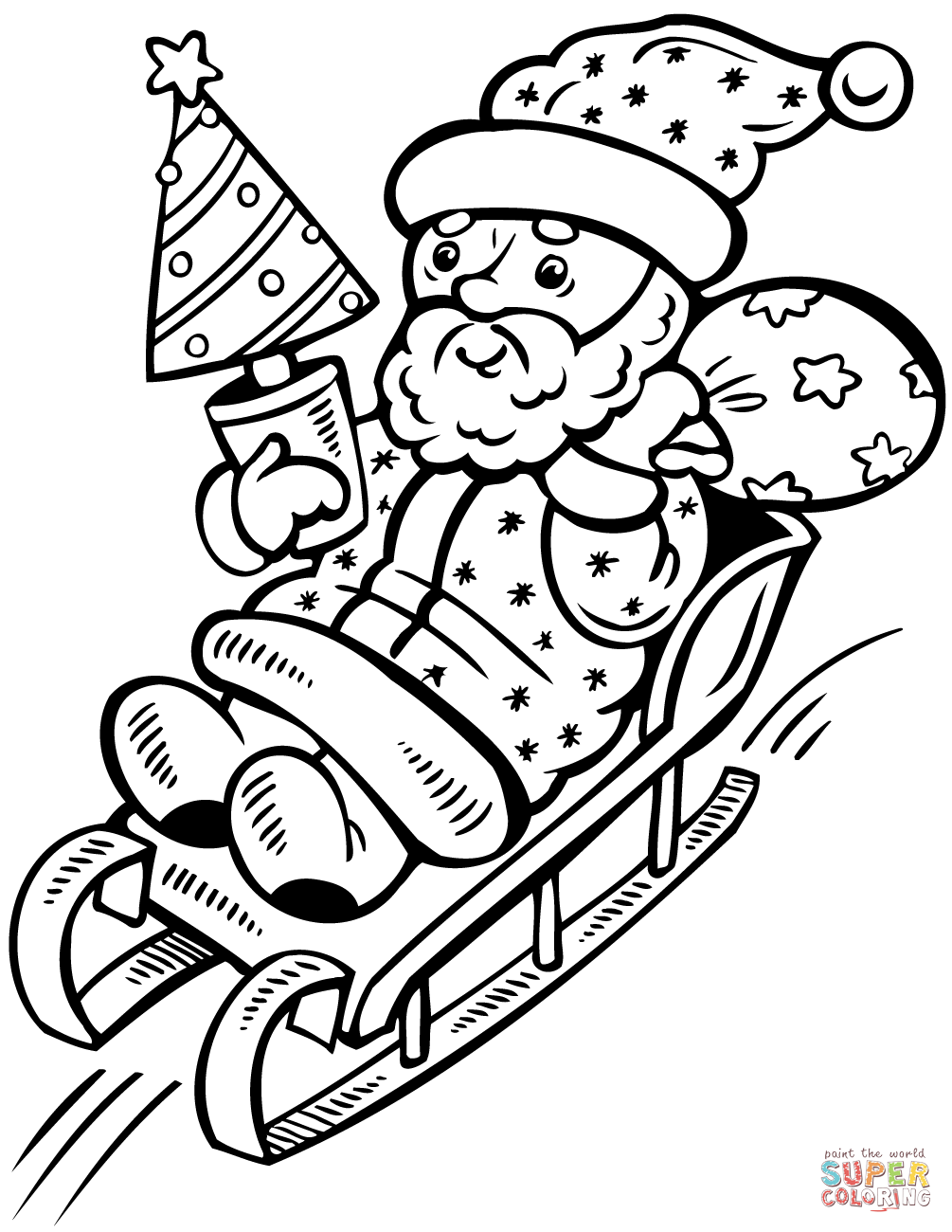 Santa Christmas Tree Coloring Page With Claus On Sleigh Free