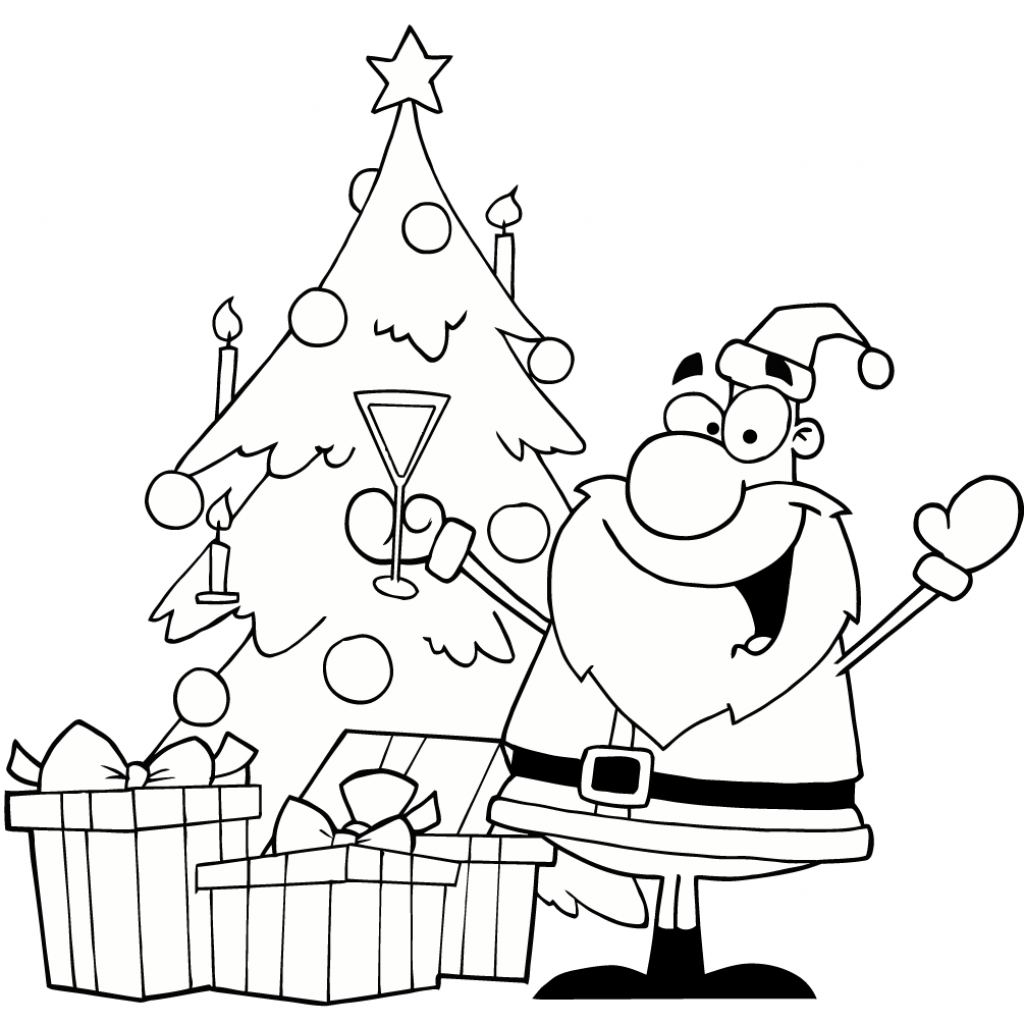 Santa Christmas Tree Coloring Page With Drinking Champagne By A Free