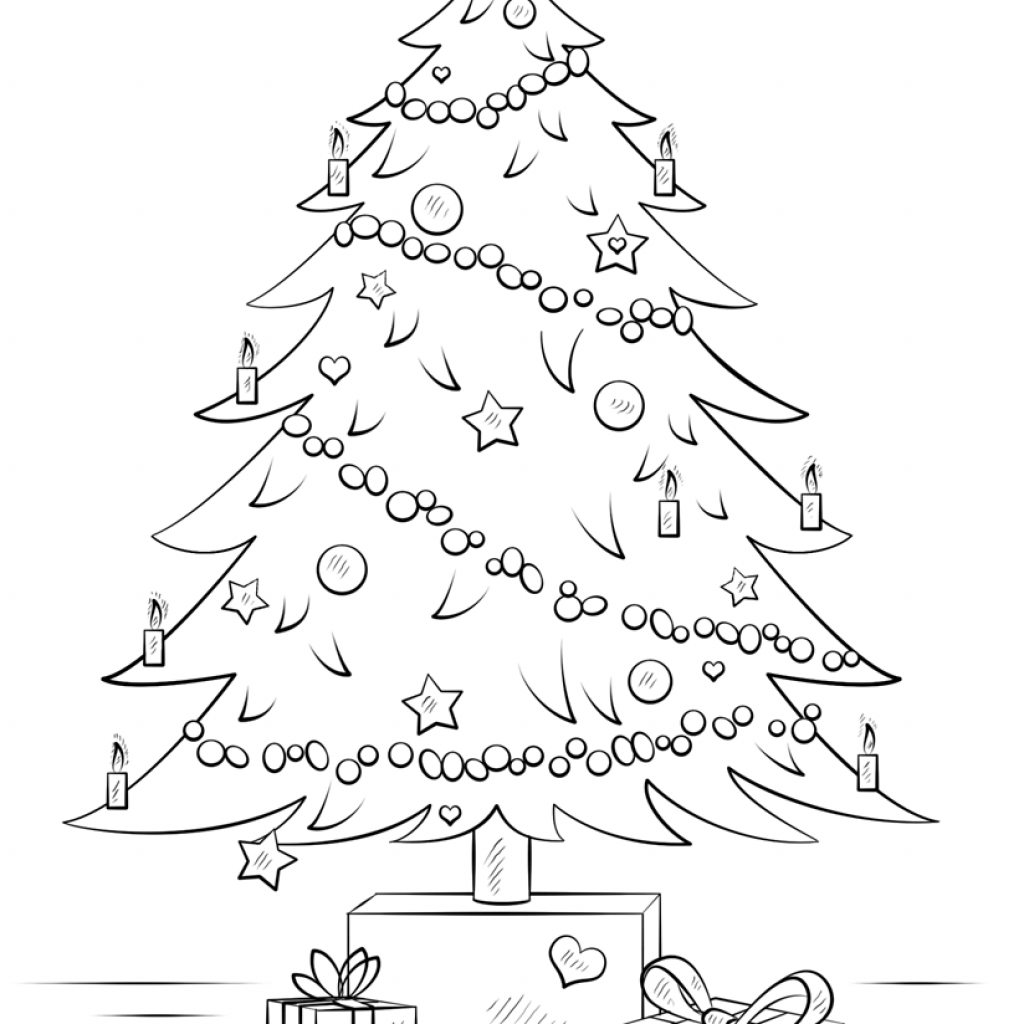 Santa Christmas Tree Coloring Page With Gift Boxes Free Printable