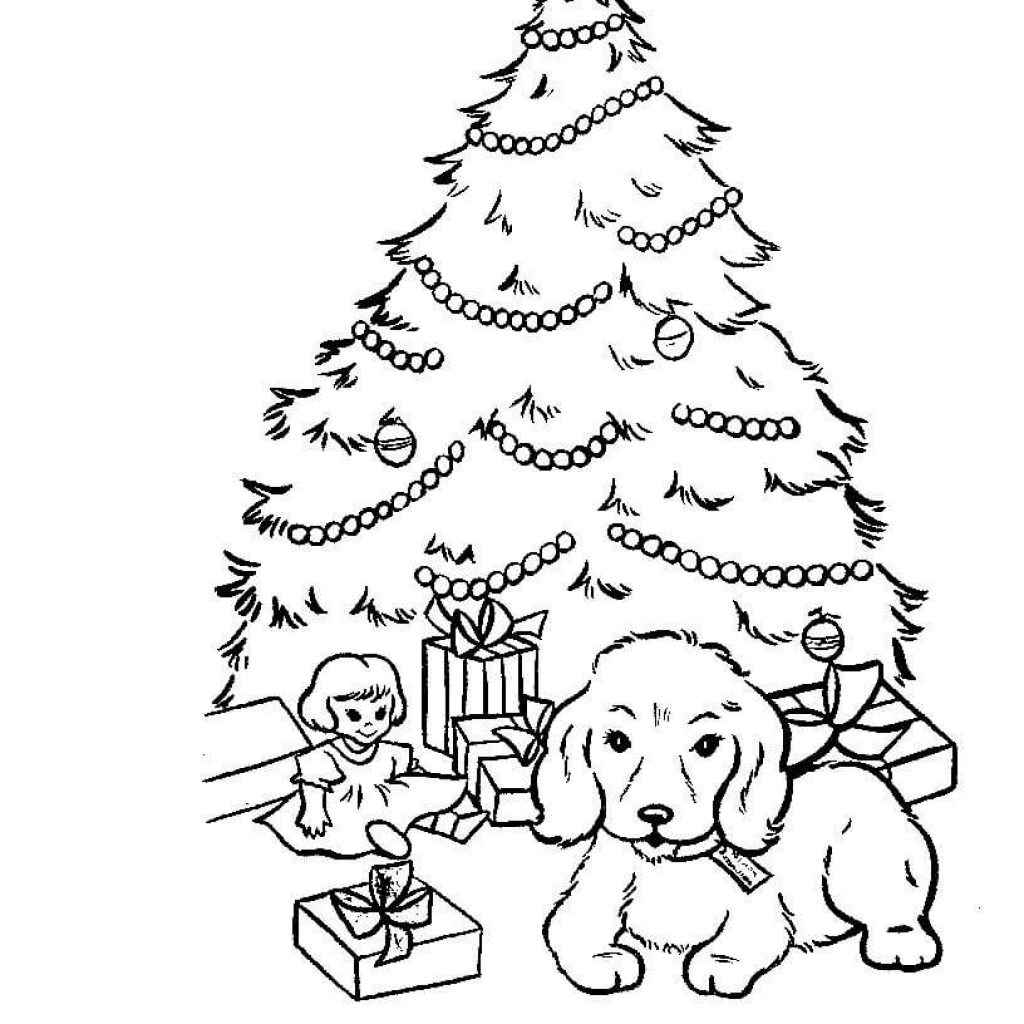Santa Christmas Tree Coloring Page With Is Decorating Free Printable