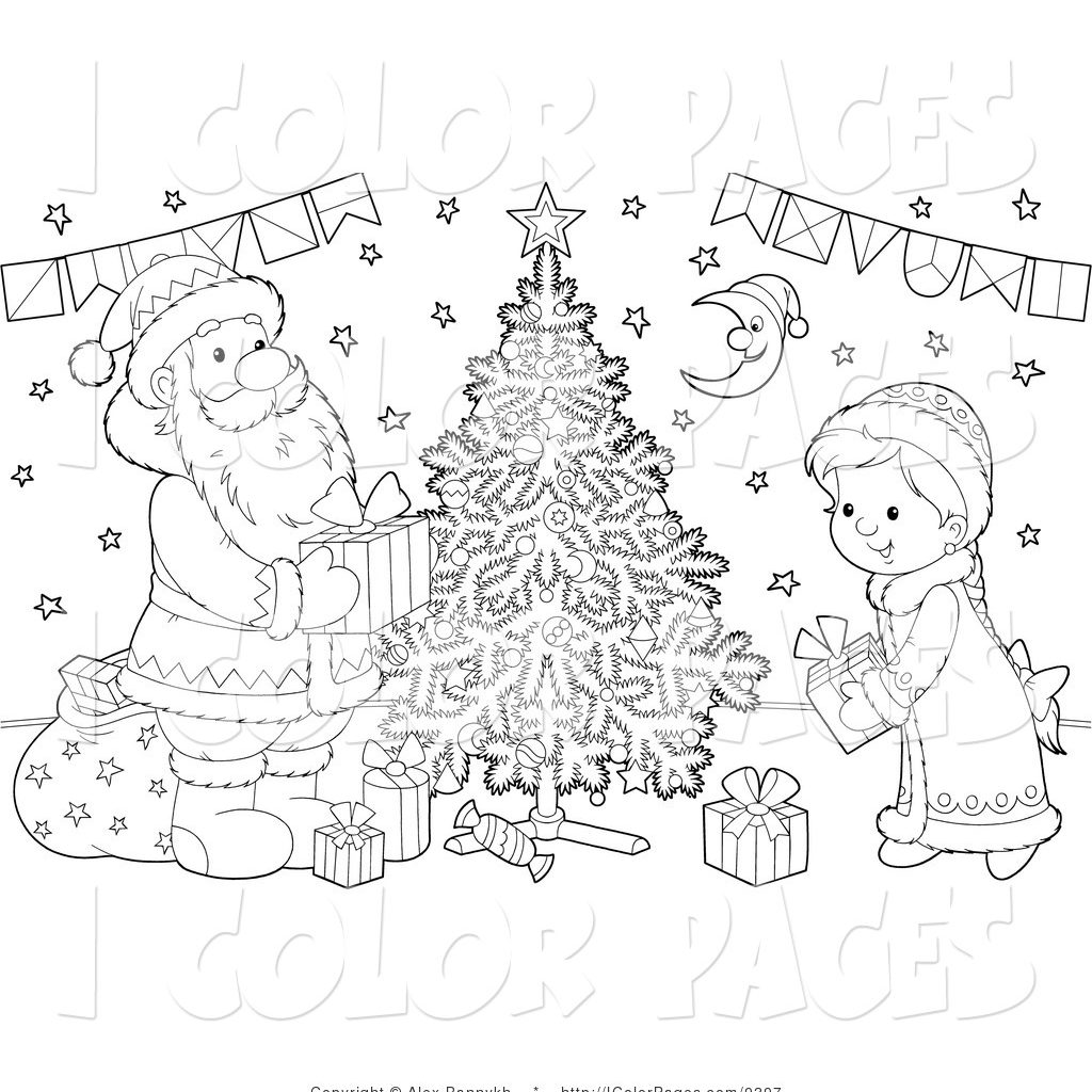 Santa Christmas Tree Coloring Page With Vector Of A Black And White Claus