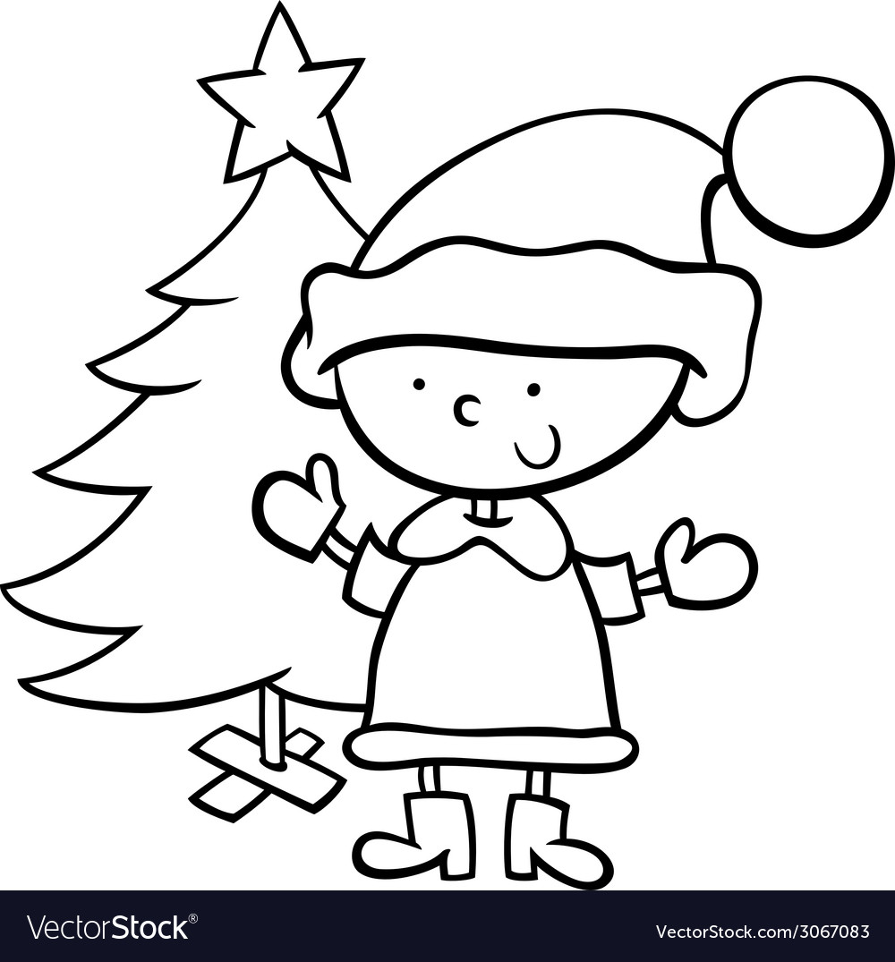 Santa Claus And Christmas Tree Coloring Pages With Boy Cartoon Page Royalty Free Vector