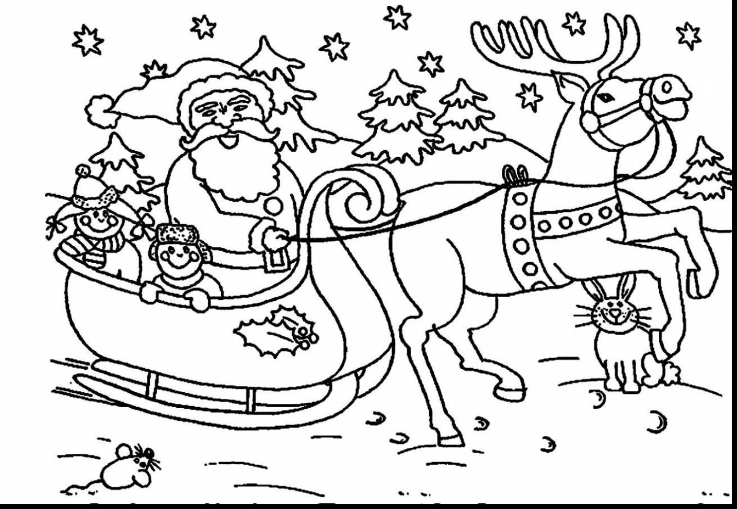 Santa Claus And Christmas Tree Coloring Pages With Extraordinary Sleigh Reindeer