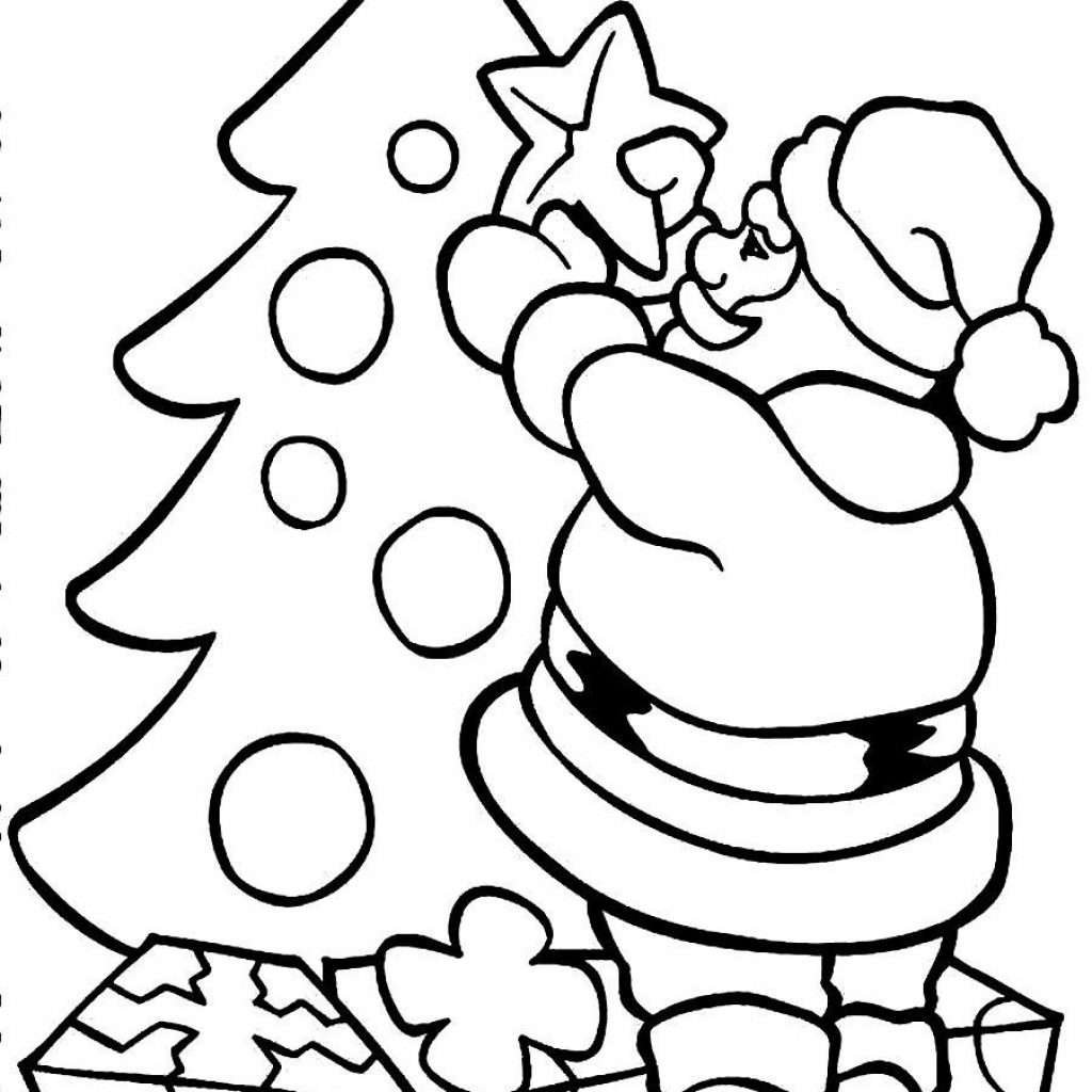 Santa Claus And Christmas Tree Coloring Pages With Imagen Relacionada Navidad Pinterest