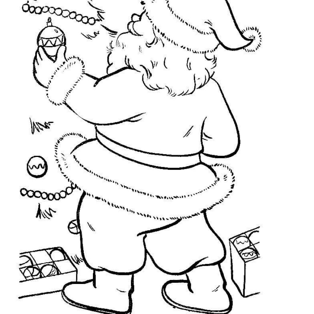 Santa Claus And Christmas Tree Coloring Pages With Is Decorating Page Free Printable