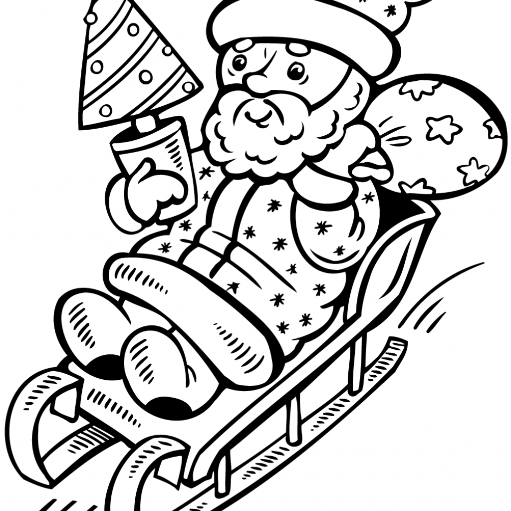 Santa Claus And Christmas Tree Coloring Pages With On Sleigh Page Free