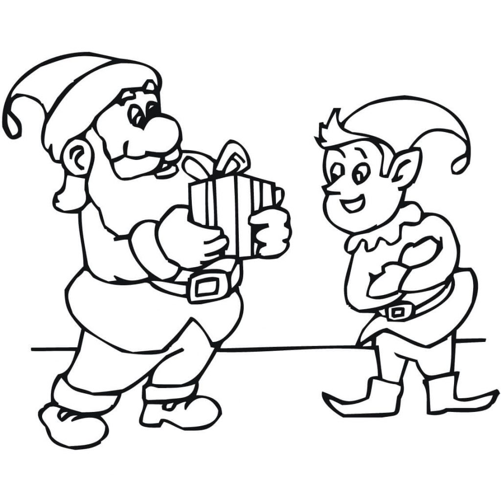 Santa Claus And Elves Coloring Pages With Christmas Free