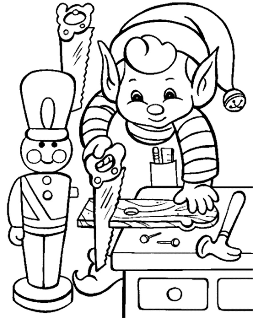 Santa Claus And Elves Coloring Pages With Quick Elf Pictures To Print Christmas Printable