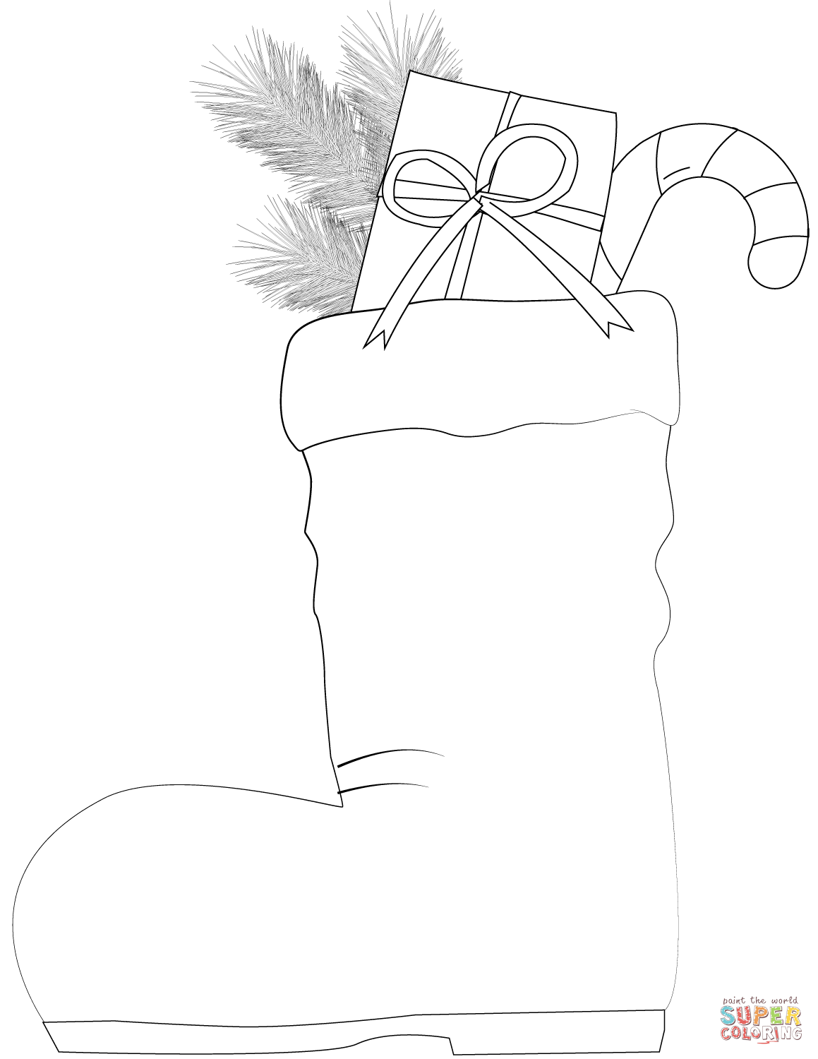 Santa Claus Boots Coloring Pages With Sweets Page Free Printable