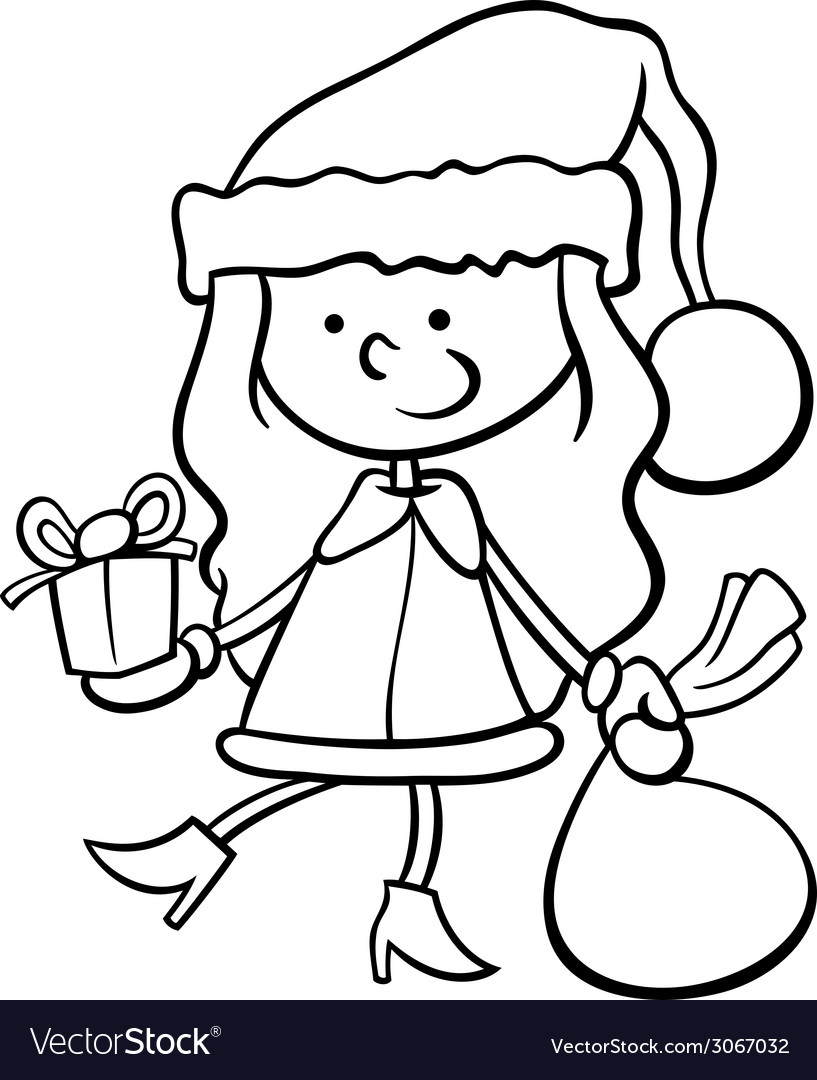 Santa Claus Cartoon Coloring Pages With Kid Page Royalty Free Vector