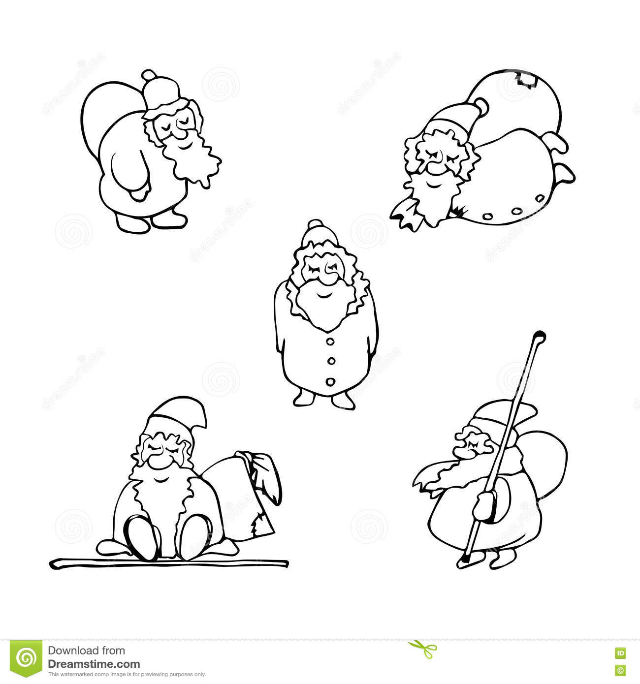 Santa Claus Cartoon Coloring Pages With Page Christmas Set Of Stock Vector