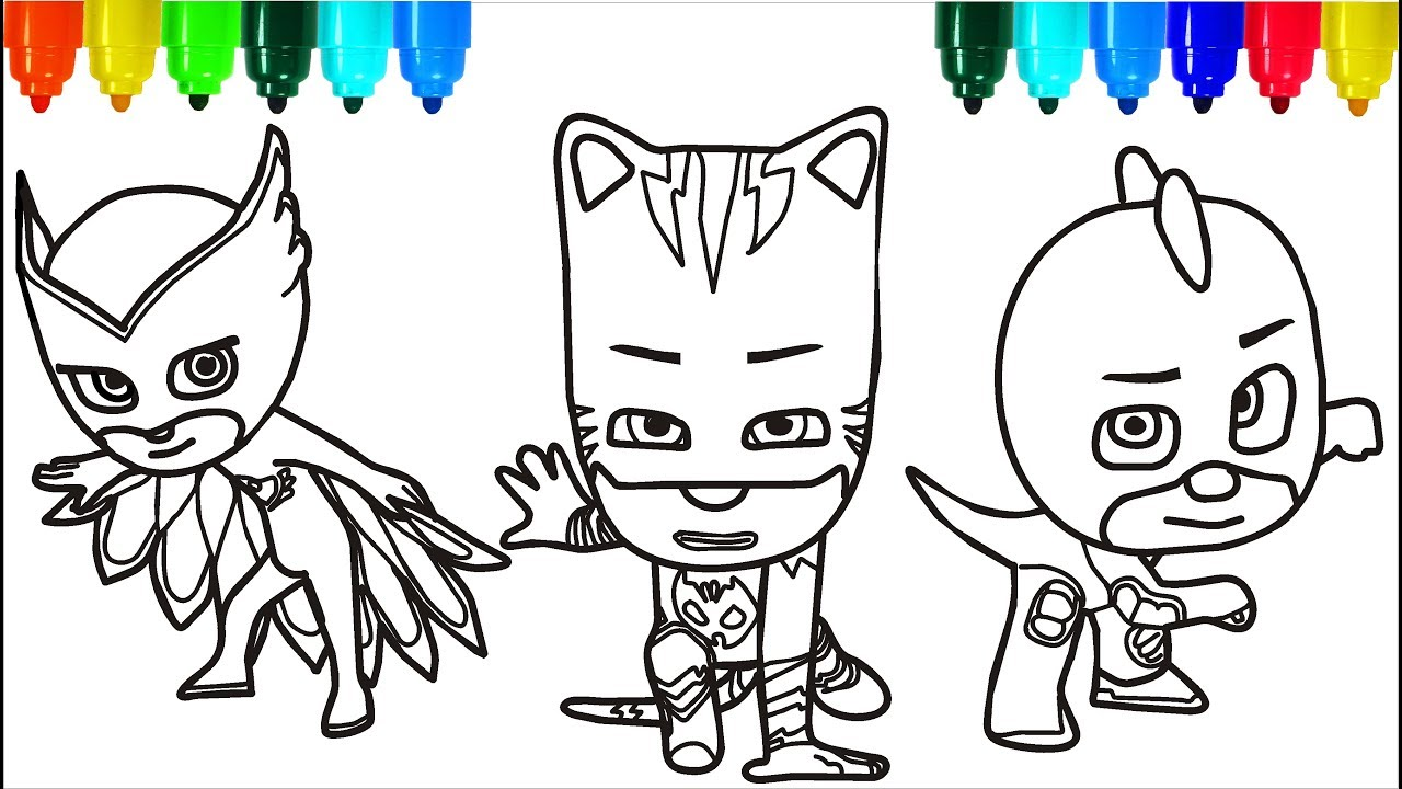 Santa Claus Cartoon Coloring Pages With PJ Masks Colouring For Kids