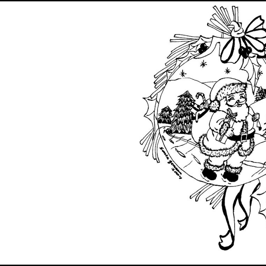 Santa Claus Christmas Coloring Pages For Kids With Cards