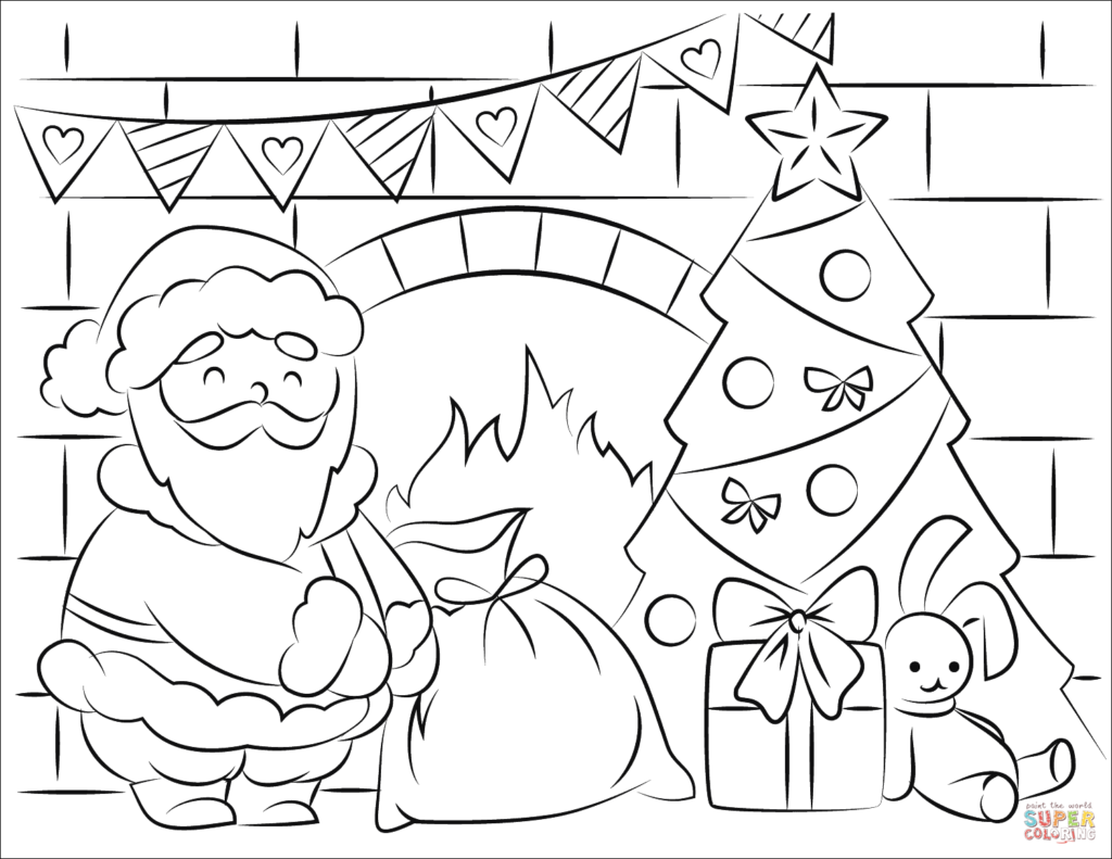 Santa Claus Christmas Coloring Pages With Bringing Presents In Page Free