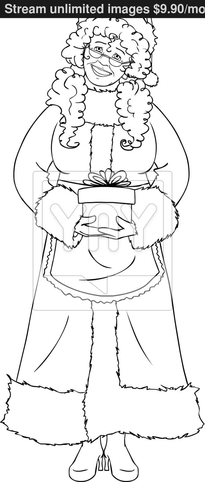 Santa Claus Christmas Coloring Pages With Mrs Holding A Present For Page Vector