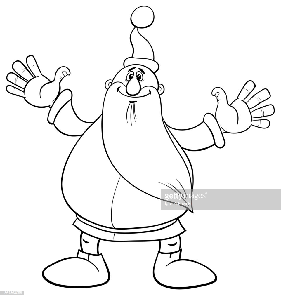 Santa Claus Christmas Coloring Pages With Page Vector Art Getty Images
