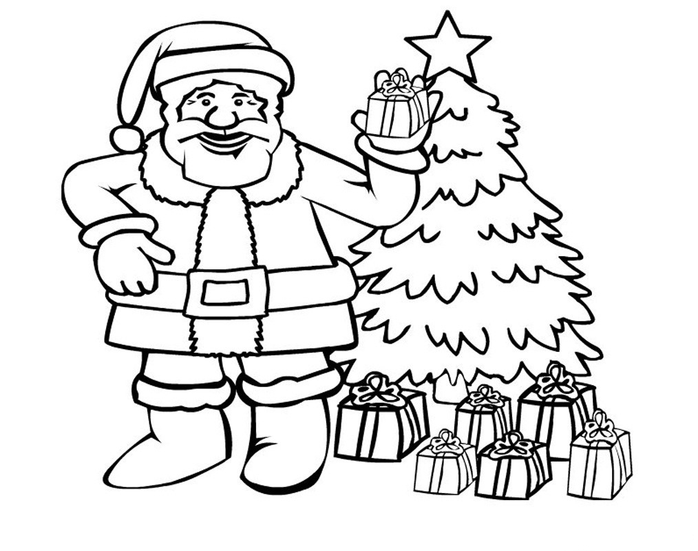 Santa Claus Christmas Tree Coloring Pages With Awesome Cartoon Design Printable