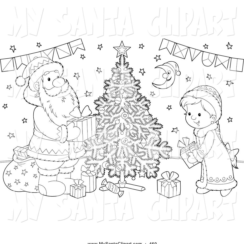 Santa Claus Christmas Tree Coloring Pages With Clip Art Of A Black And White Girl Putting