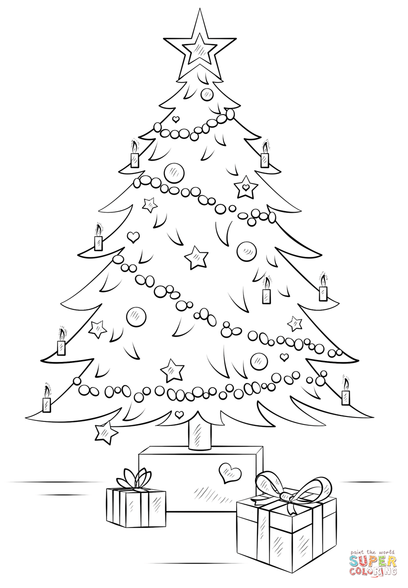 Santa Claus Christmas Tree Coloring Pages With Gift Boxes Page Free Printable