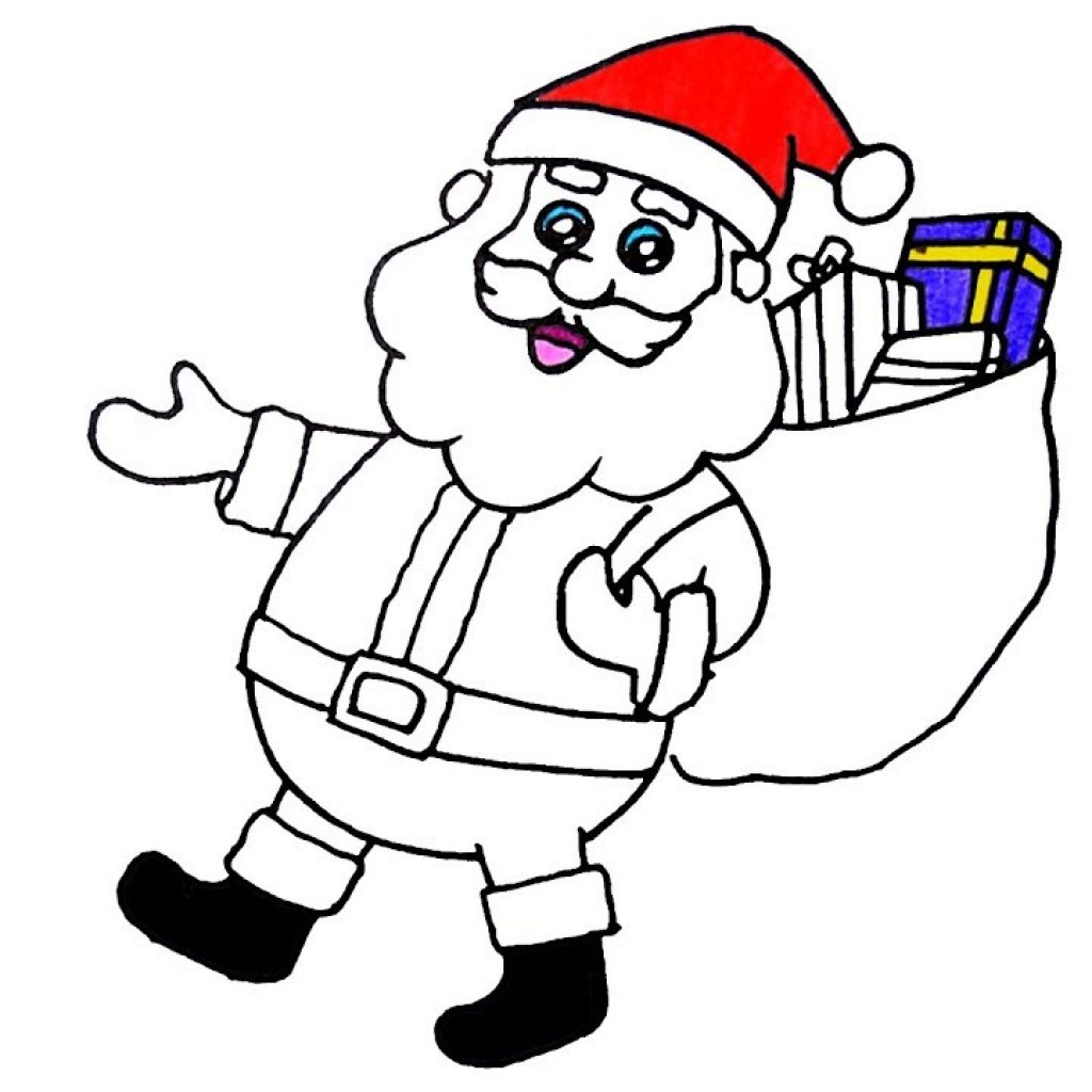 Santa Claus Coloring Book Pages With Art Colors For Kids Draw Merry