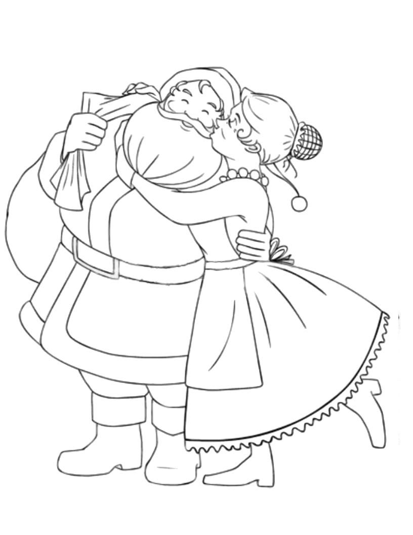 Santa Claus Coloring Book Pages With Mr Mrs 00 Holidays Clipart Etc