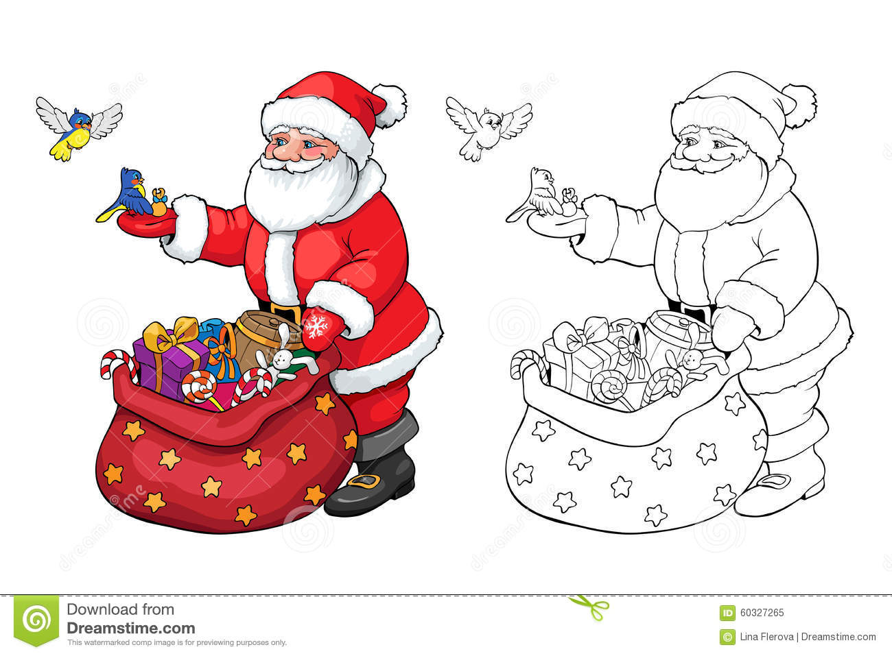 Santa Claus Coloring Book Pages With Or Page Christmas Gifts Stock