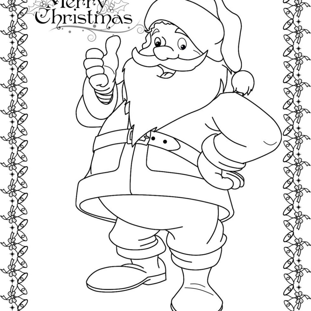 Santa Claus Coloring Face With Christmas Pages For Kids