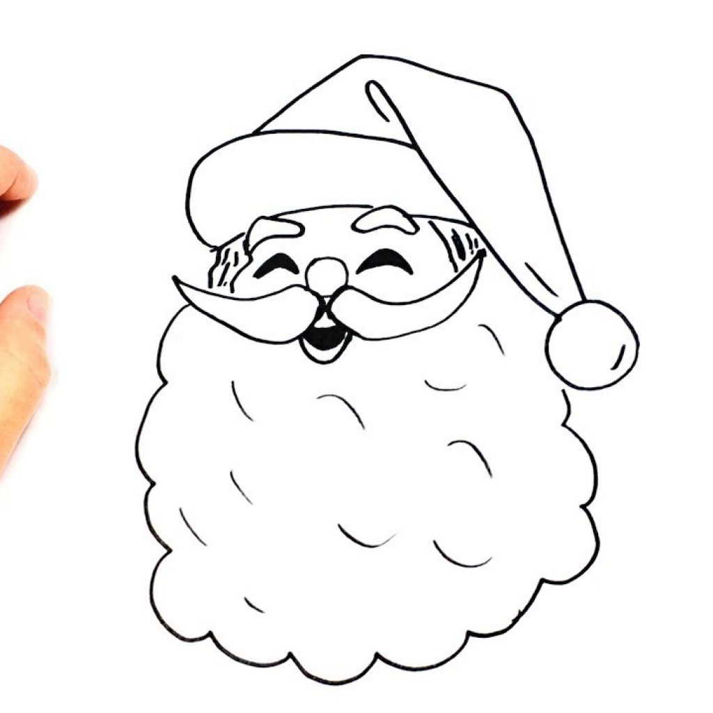 Santa Claus Coloring Face With How To Draw A Step By Easy Drawings YouTube
