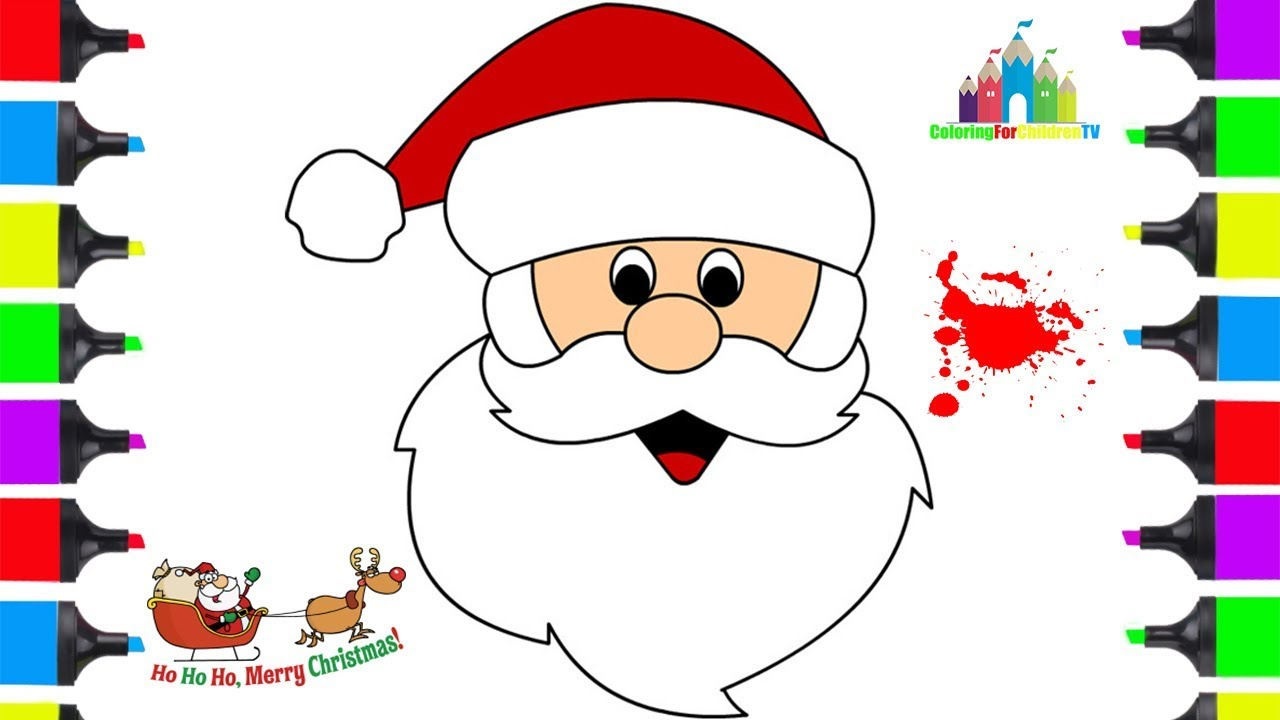 Santa Claus Coloring Face With How To Draw Clause Easy Pages Christmas
