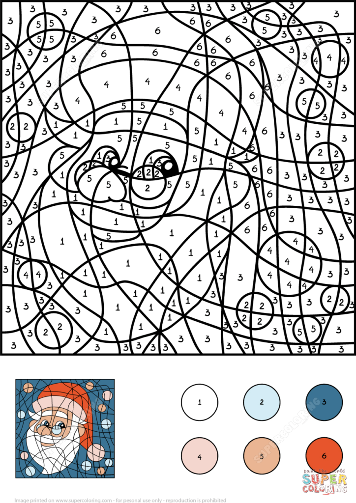 Santa Claus Coloring Game With Color By Number Free Printable Pages