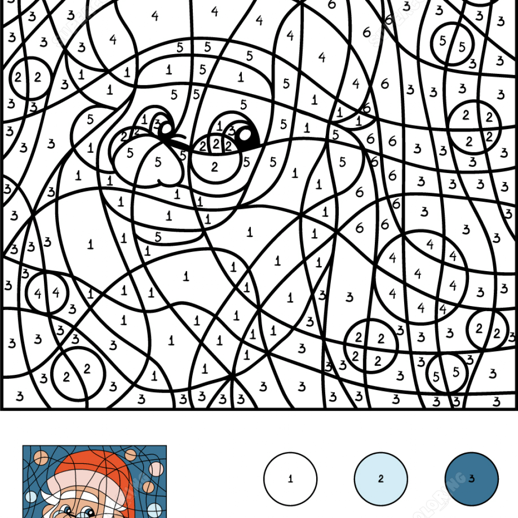 Santa Claus Coloring Games With Color By Number Free Printable Pages