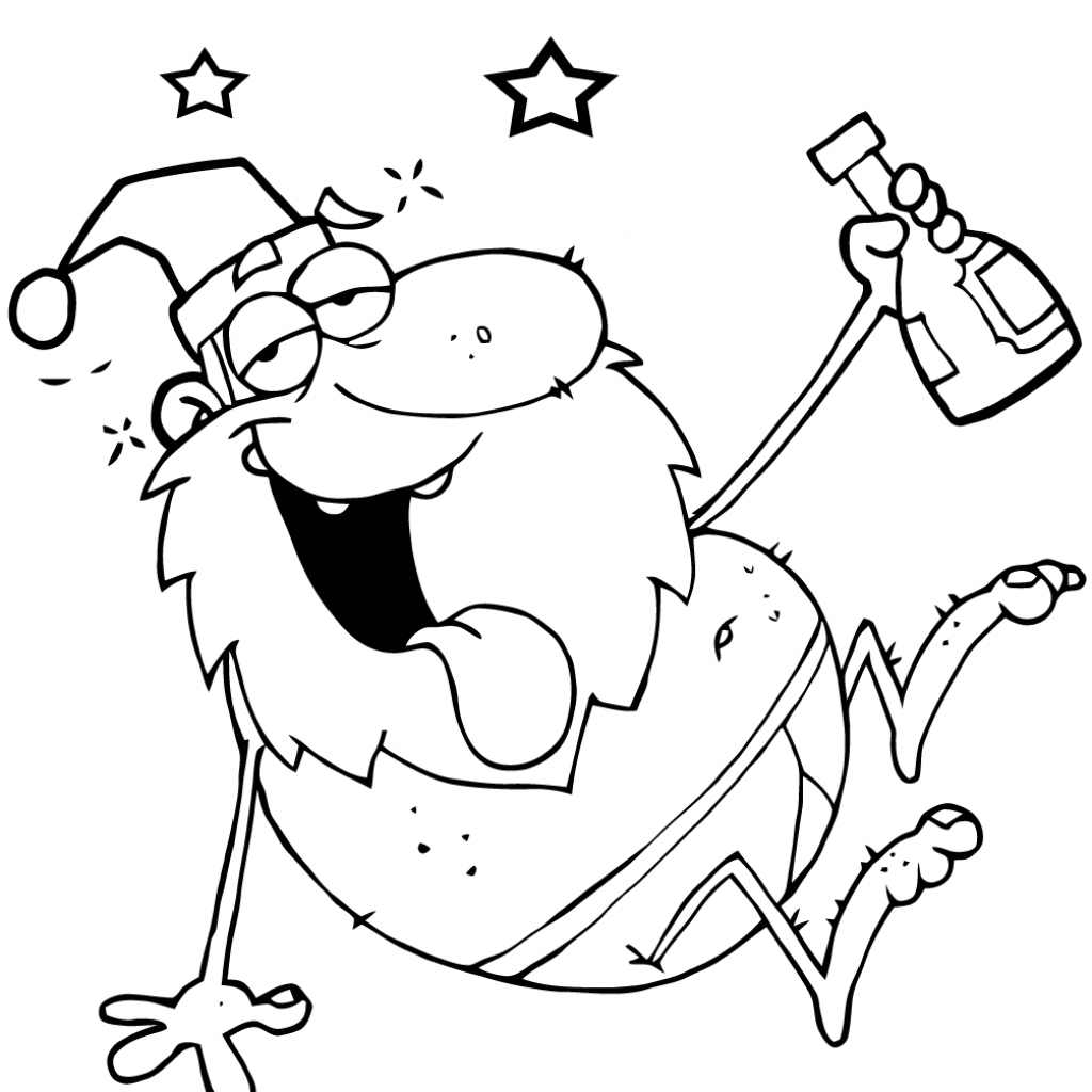 Santa Claus Coloring Games With Drunk Page Free Printable Pages