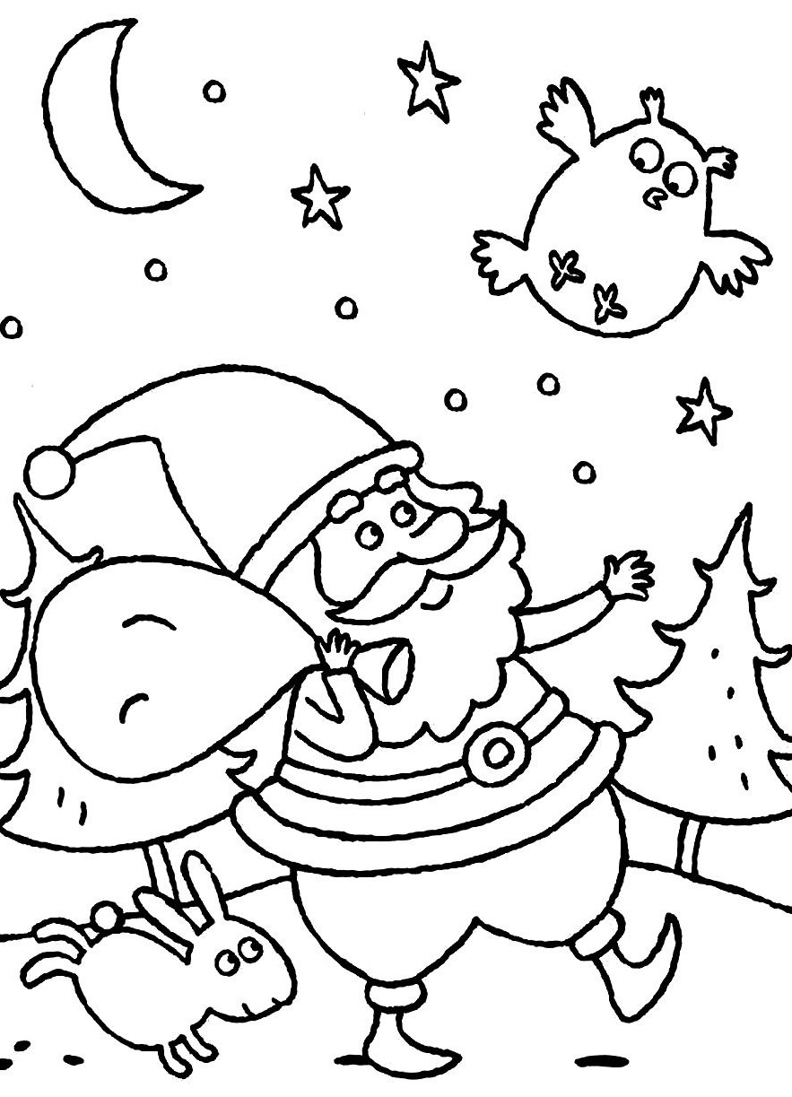 Santa Claus Coloring Images With Pages Christmas Night ColoringStar