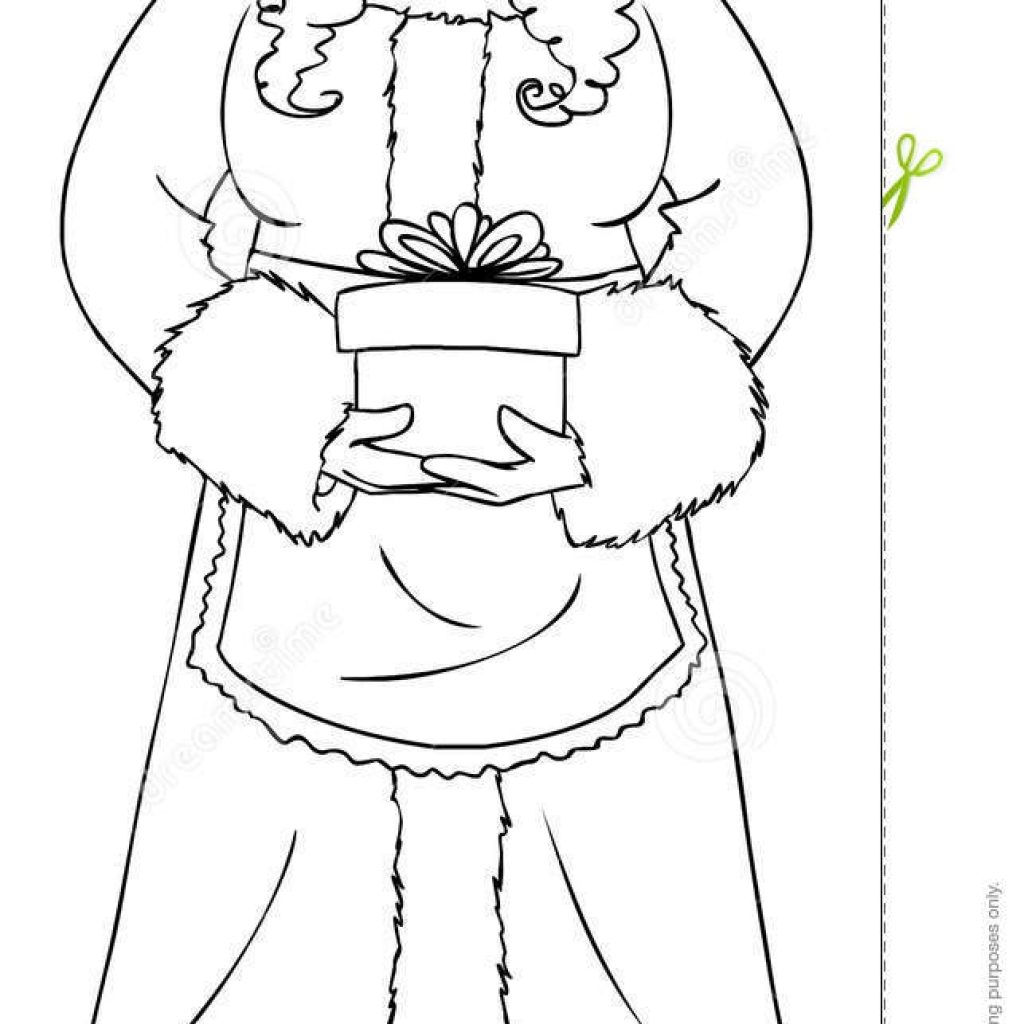 Santa Claus Coloring Page Free With Mrs Holding A Present Stock Vector